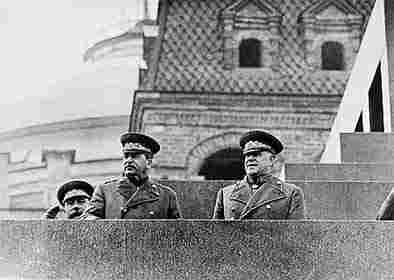 Stalin and Zhukov at the Lenin mausoleum tribune
